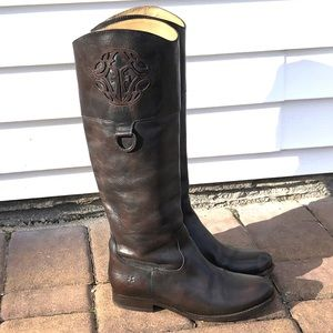 Frye tall leather logo boots
